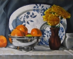 Oranges With Flowers 22x30